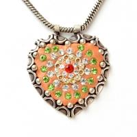 Handmade Orange Pendant Studded with Rhinestones