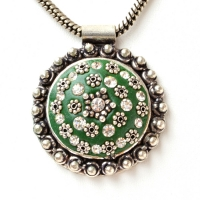 Handmade Green Pendant Studded with Silver Plated Flowers