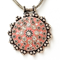 Handmade Pink Pendant Studded with Metal Flowers & Rhinestones