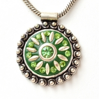 Handmade Green Pendant Studded with Rhinestones & Metal Accessories