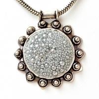 Handmade Pendant Studded with Silver Glitter