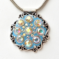 Handmade Blue Pendant Studded with Metal Rings & Rainbow Rhinestones