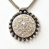 Handmade Gray Pendant Studded with Metal Rings & Rhinestones