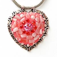 Handmade Pink Pendant Studded with Quartz Gemstone & Rhinestones