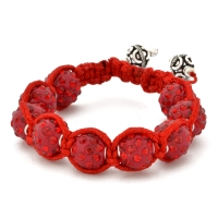 Red Shamballa Bracelet With Red Rhinestones | MSBR-165