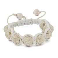 White Shamballa Bracelet With White Rhinestones | MSBR-166