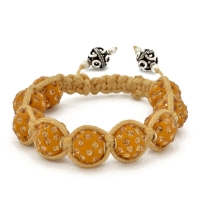 Yellow Shamballa Bracelet With Yellow Rhinestones | MSBR-164
