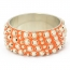 "1.5"" Handmade Orange Bangle Studded with Metal Balls & Rings"