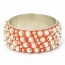 "1.5"" Handmade Red Bangle Studded with Metal Balls & Rings"