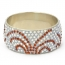 Handmade Bangle Studded with White & Brown Rhinestones (Side View)