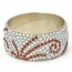 Handmade Bangle Studded with White & Brown Rhinestones (Front View)